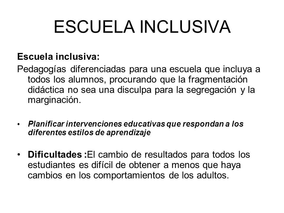 ESCUELA INCLUSIVA Escuela inclusiva: Pedagogías diferenciadas para una escuela que incluya a todos los alumnos, procurando que la fragmentación didáct