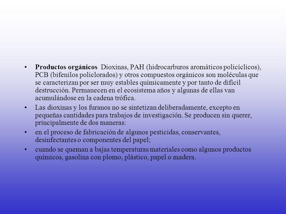Productos orgánicos Dioxinas, PAH (hidrocarburos aromáticos policíclicos), PCB (bifenilos policlorados) y otros compuestos orgánicos son moléculas que