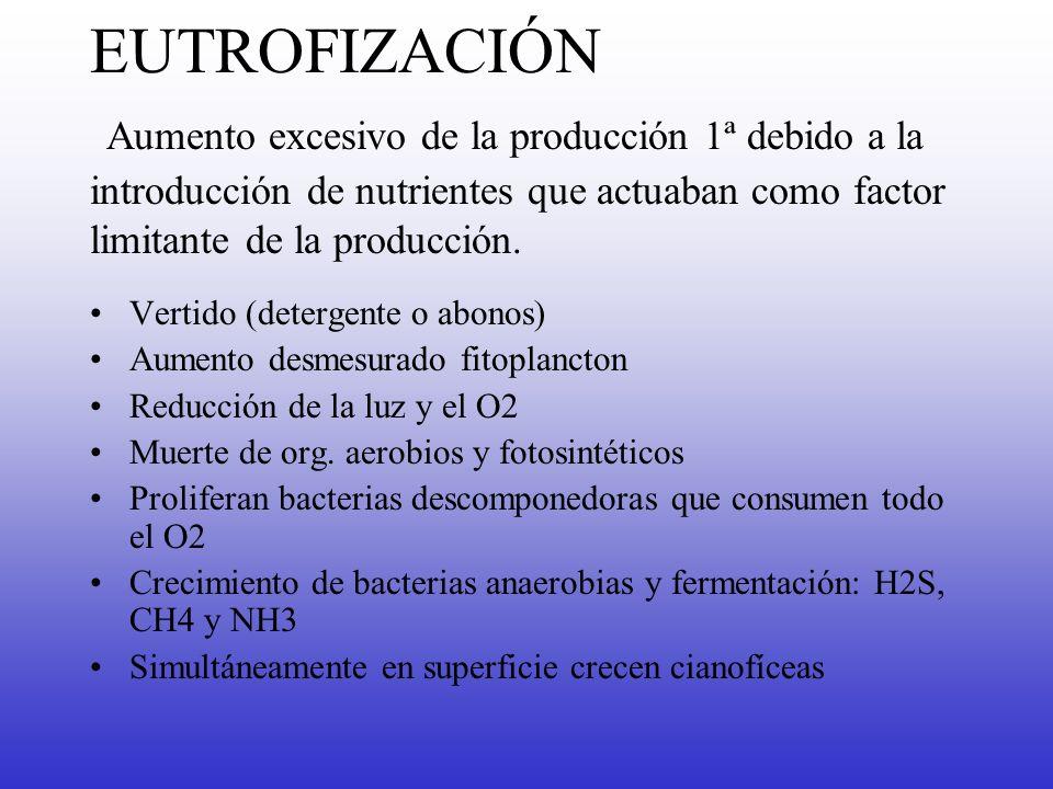 EUTROFIZACIÓN Aumento excesivo de la producción 1ª debido a la introducción de nutrientes que actuaban como factor limitante de la producción. Vertido