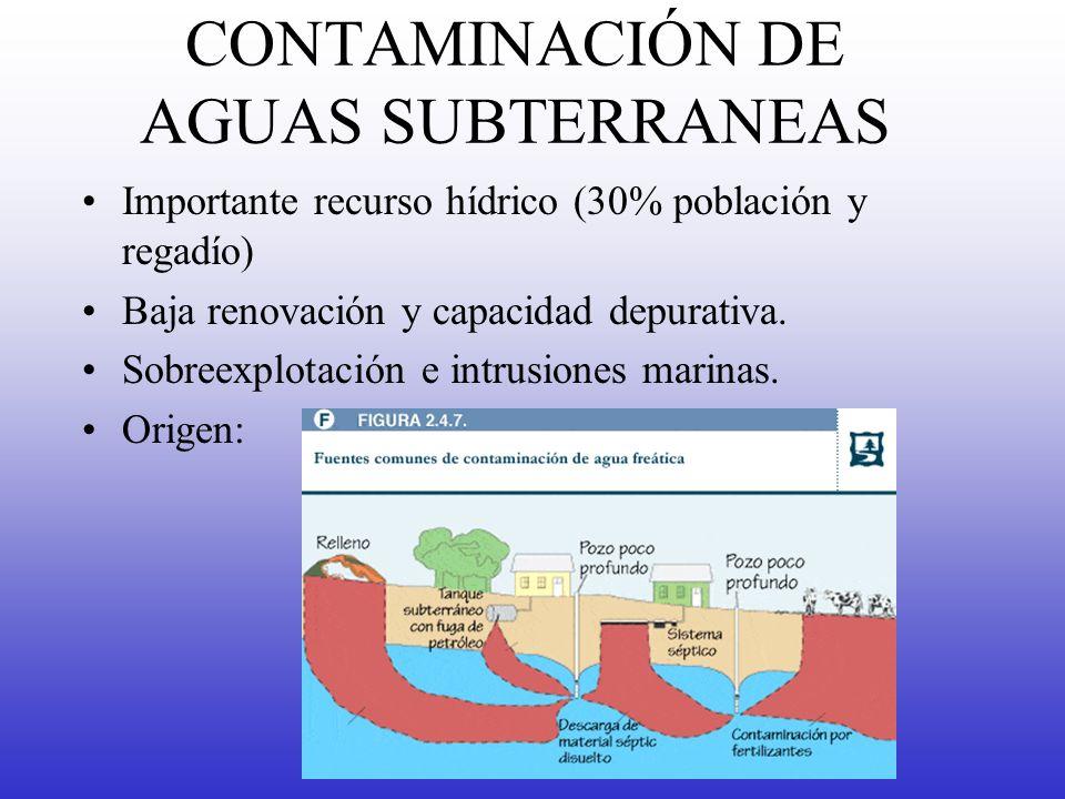 CONTAMINACIÓN DE AGUAS SUBTERRANEAS Importante recurso hídrico (30% población y regadío) Baja renovación y capacidad depurativa. Sobreexplotación e in