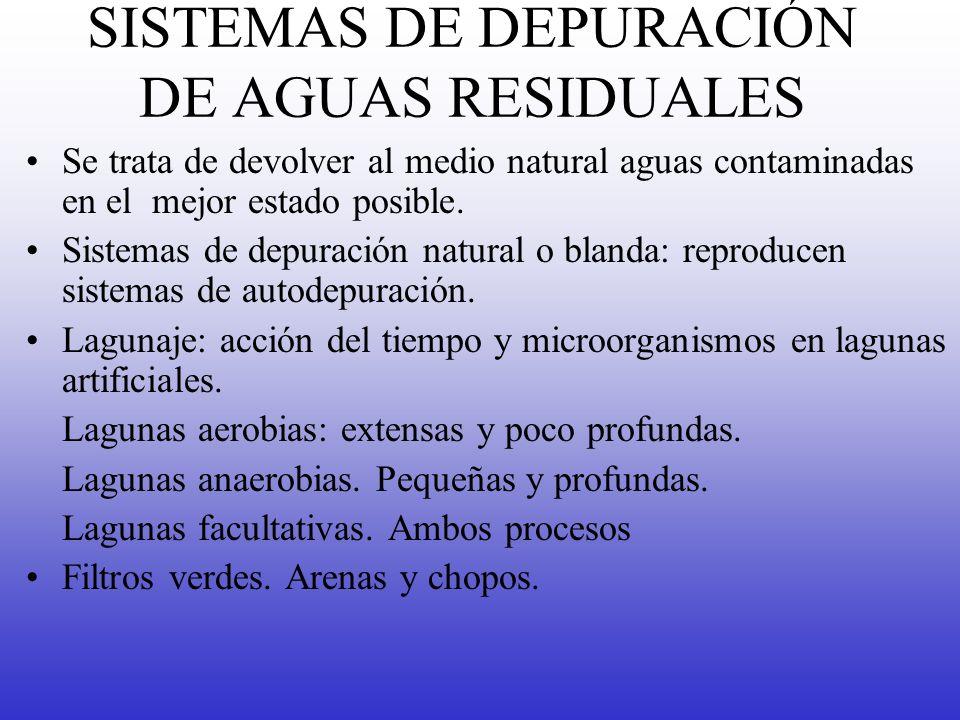 SISTEMAS DE DEPURACIÓN DE AGUAS RESIDUALES Se trata de devolver al medio natural aguas contaminadas en el mejor estado posible. Sistemas de depuración