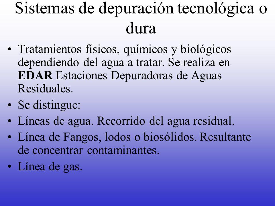 Sistemas de depuración tecnológica o dura Tratamientos físicos, químicos y biológicos dependiendo del agua a tratar. Se realiza en EDAR Estaciones Dep
