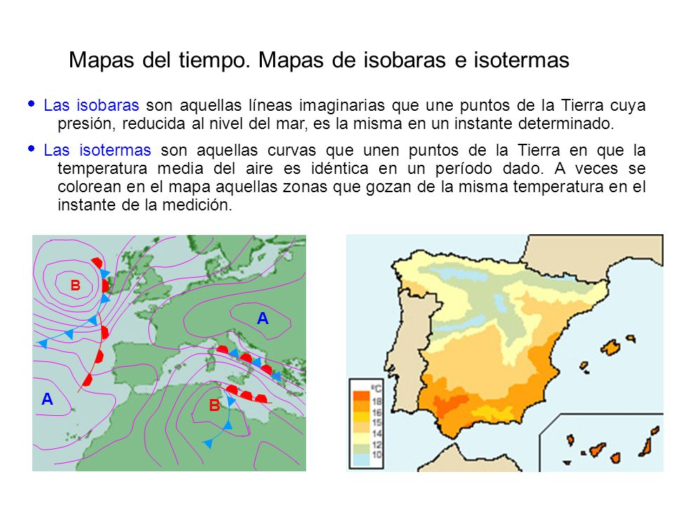 1º IDENTIFICACIÓN DE LOS ELEMENTOS VISIBLES DEL MAPA ISOBARAS CENTROS DE ACCIÓN FRENTES