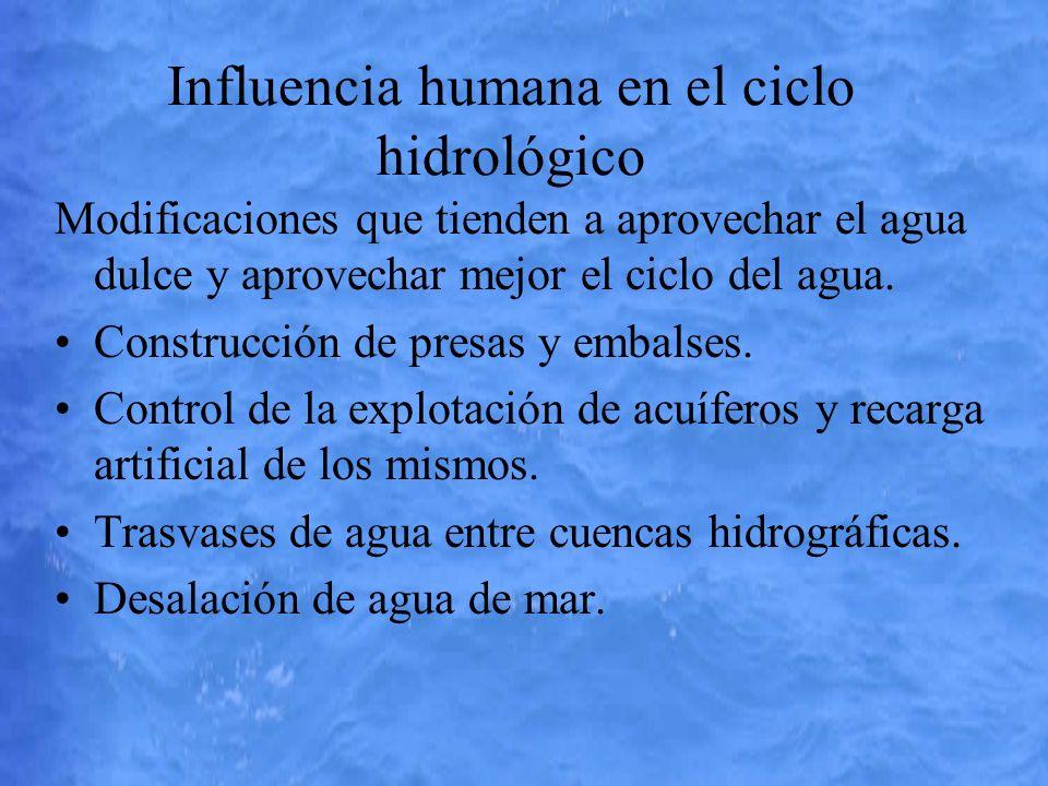 Influencia humana en el ciclo hidrológico Modificaciones que tienden a aprovechar el agua dulce y aprovechar mejor el ciclo del agua. Construcción de