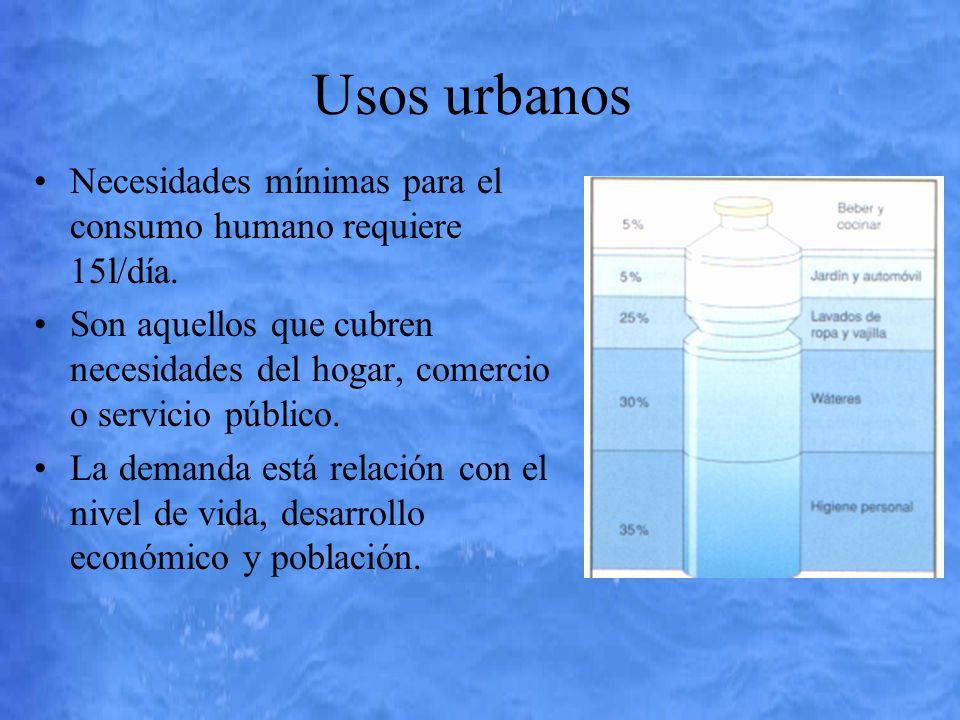 Usos urbanos Necesidades mínimas para el consumo humano requiere 15l/día. Son aquellos que cubren necesidades del hogar, comercio o servicio público.