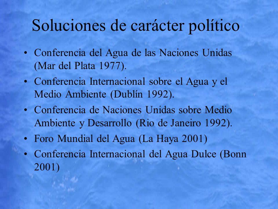Soluciones de carácter político Conferencia del Agua de las Naciones Unidas (Mar del Plata 1977). Conferencia Internacional sobre el Agua y el Medio A