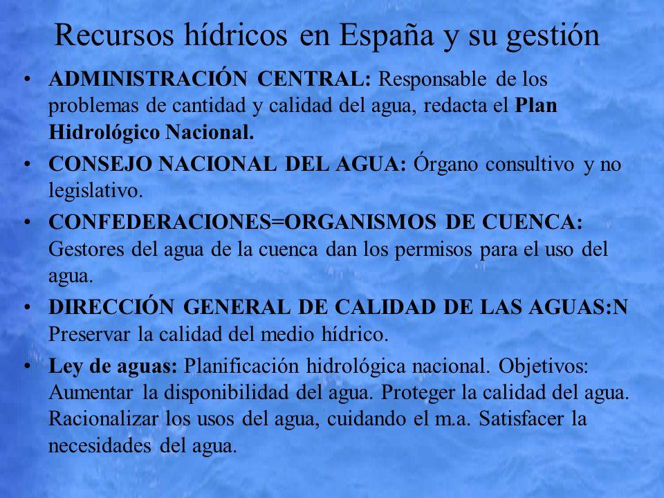 Recursos hídricos en España y su gestión ADMINISTRACIÓN CENTRAL: Responsable de los problemas de cantidad y calidad del agua, redacta el Plan Hidrológ