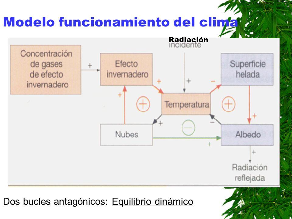 Las nubes Doble acción: Aumentan el albedo. Incrementan el efecto invernadero. Su acción depende de la altura de las nubes.