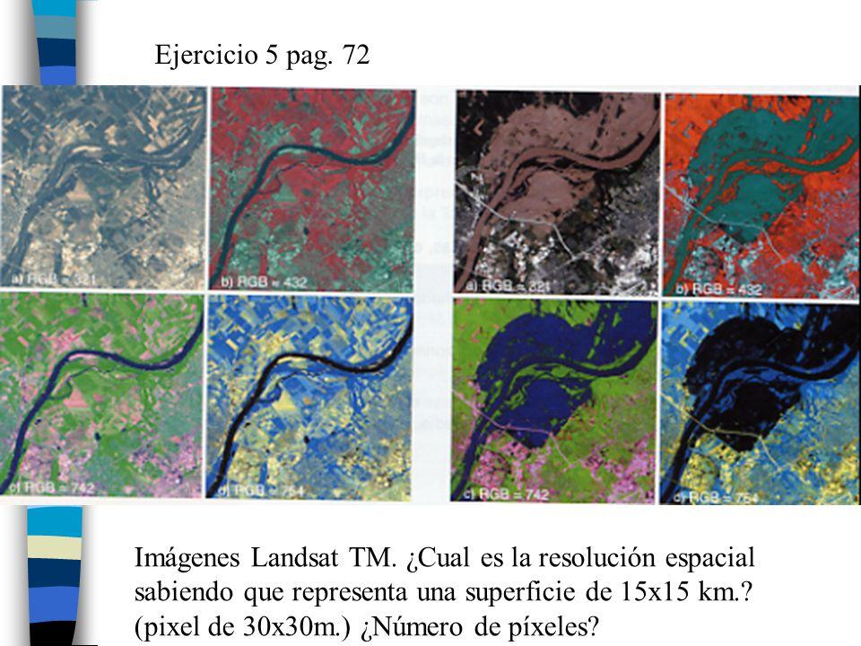 Ejercicio 5 pag. 72 Imágenes Landsat TM. ¿Cual es la resolución espacial sabiendo que representa una superficie de 15x15 km.? (pixel de 30x30m.) ¿Núme
