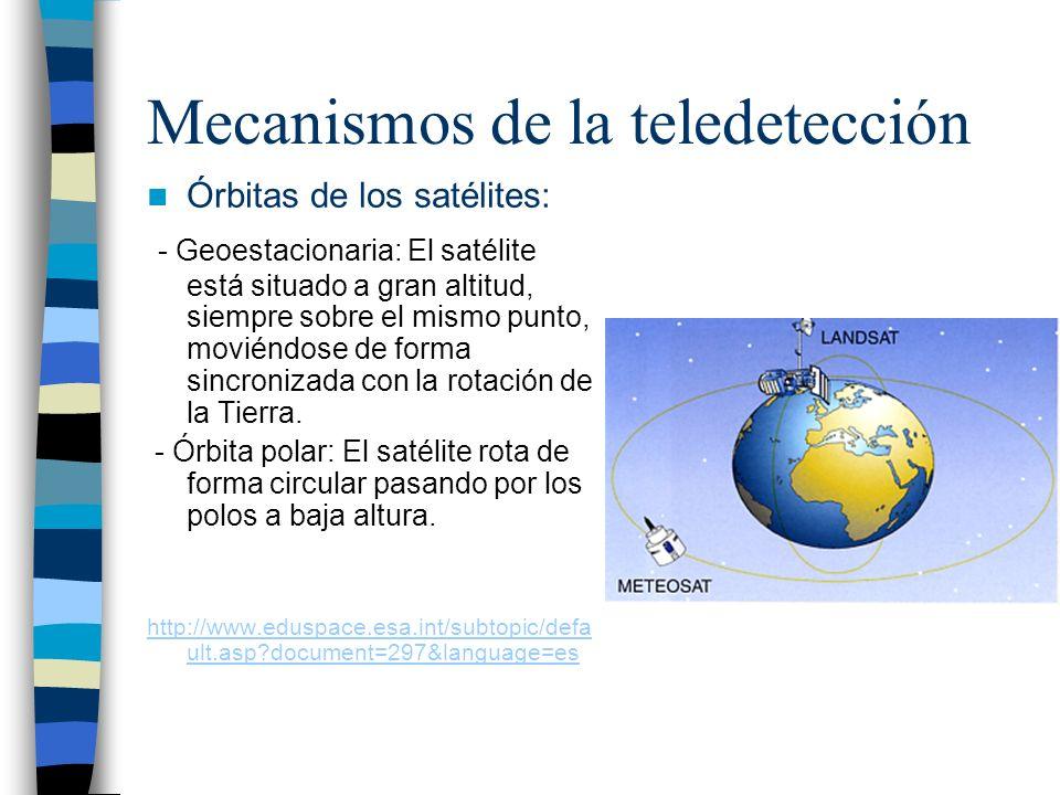 Mecanismos de la teledetección Órbitas de los satélites: - Geoestacionaria: El satélite está situado a gran altitud, siempre sobre el mismo punto, mov