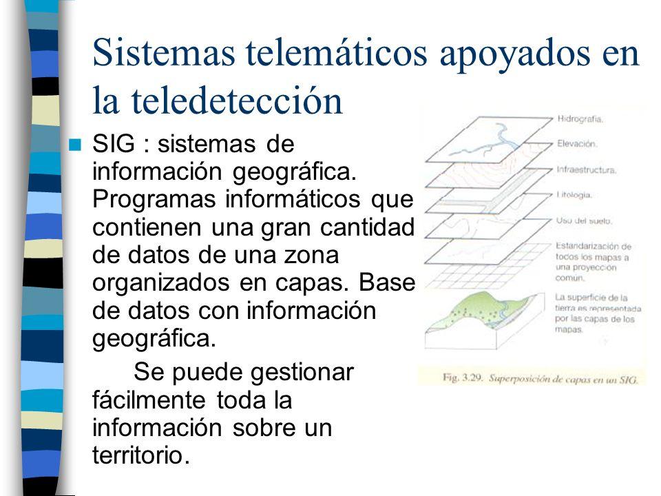 Sistemas telemáticos apoyados en la teledetección SIG : sistemas de información geográfica. Programas informáticos que contienen una gran cantidad de
