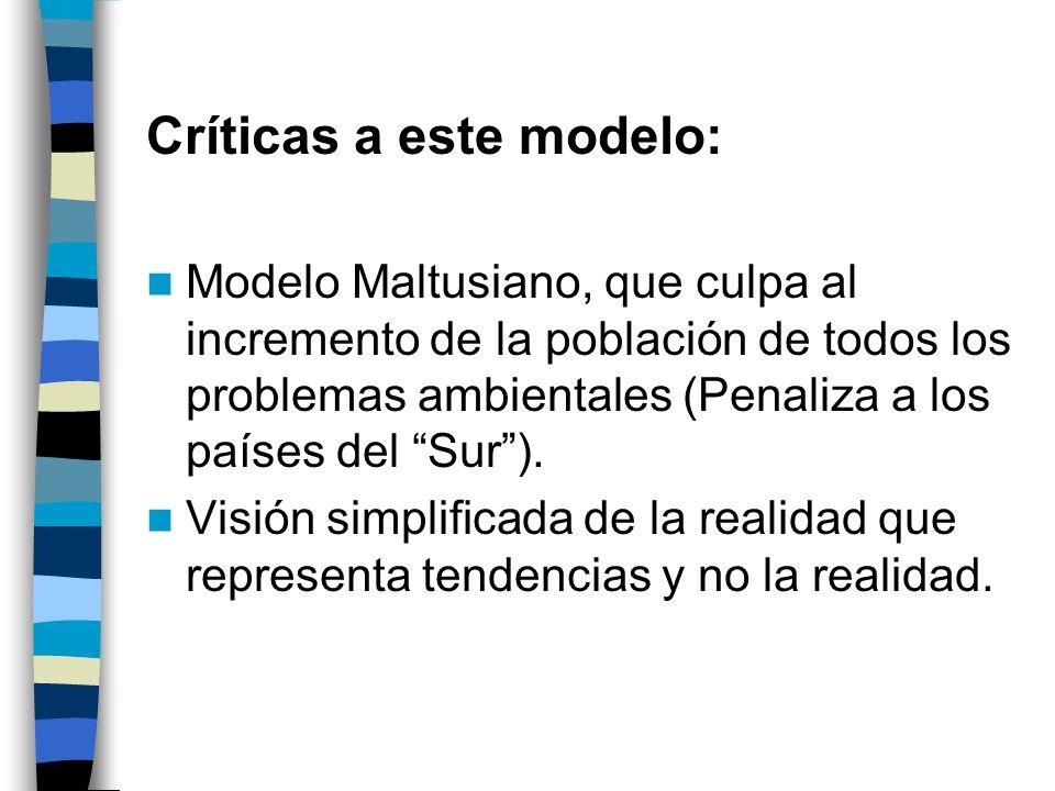 Críticas a este modelo: Modelo Maltusiano, que culpa al incremento de la población de todos los problemas ambientales (Penaliza a los países del Sur).