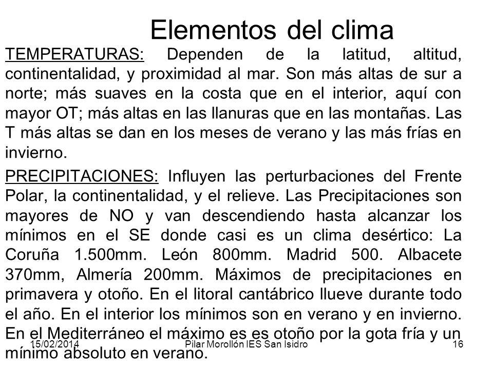 15/02/2014Pilar Morollón IES San Isidro16 Elementos del clima TEMPERATURAS: Dependen de la latitud, altitud, continentalidad, y proximidad al mar.