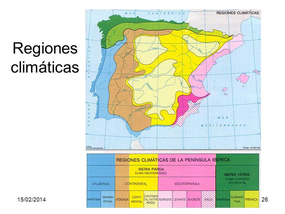 15/02/2014Pilar Morollón IES San Isidro26 Regiones climáticas