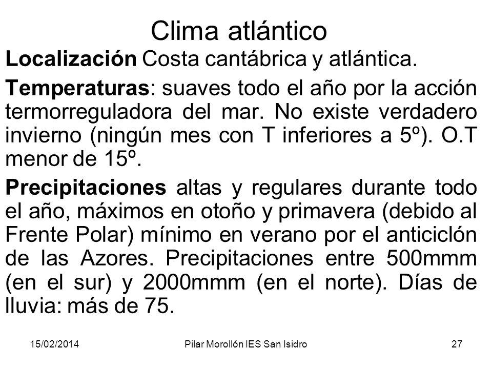 15/02/2014Pilar Morollón IES San Isidro27 Clima atlántico Localización Costa cantábrica y atlántica.