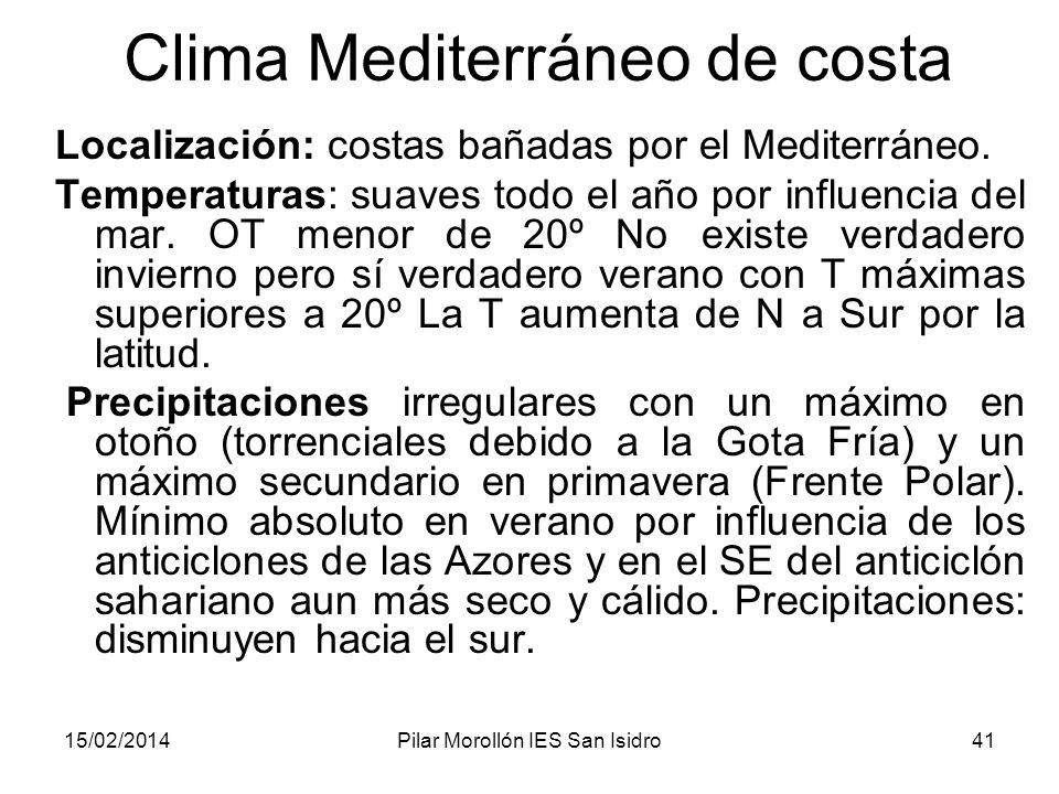 15/02/2014Pilar Morollón IES San Isidro41 Clima Mediterráneo de costa Localización: costas bañadas por el Mediterráneo.