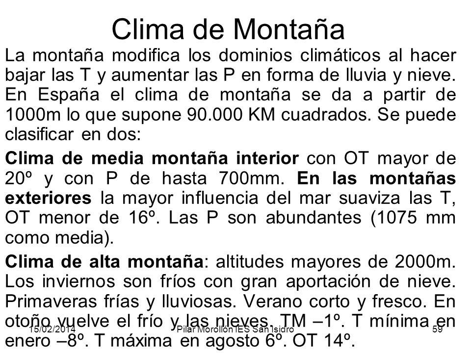 15/02/2014Pilar Morollón IES San Isidro59 Clima de Montaña La montaña modifica los dominios climáticos al hacer bajar las T y aumentar las P en forma de lluvia y nieve.