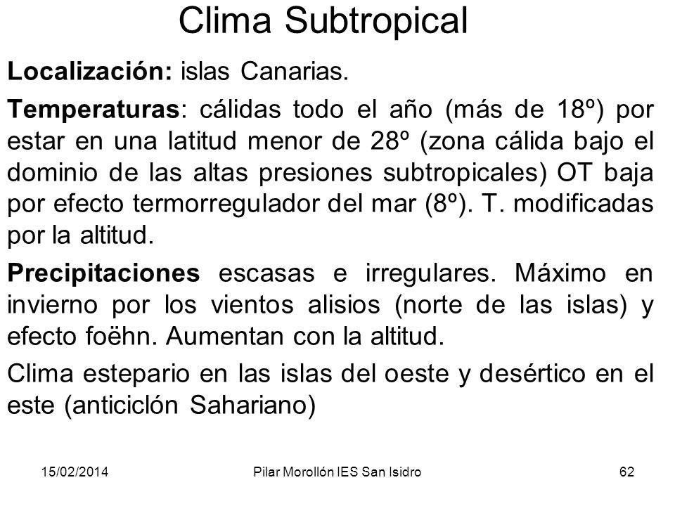 15/02/2014Pilar Morollón IES San Isidro62 Clima Subtropical Localización: islas Canarias.
