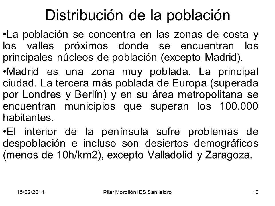 15/02/2014Pilar Morollón IES San Isidro10 Distribución de la población La población se concentra en las zonas de costa y los valles próximos donde se