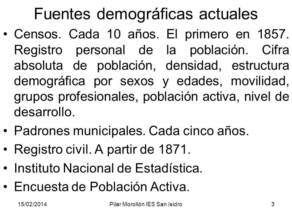 15/02/2014Pilar Morollón IES San Isidro3 Fuentes demográficas actuales Censos. Cada 10 años. El primero en 1857. Registro personal de la población. Ci