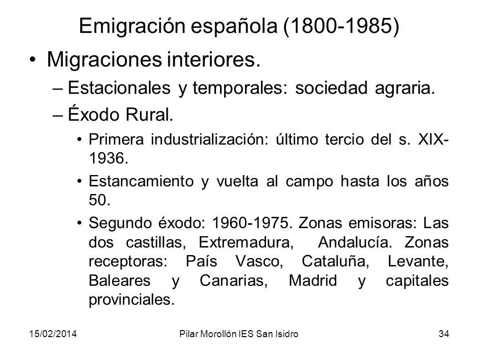 15/02/2014Pilar Morollón IES San Isidro34 Emigración española (1800-1985) Migraciones interiores. –Estacionales y temporales: sociedad agraria. –Éxodo