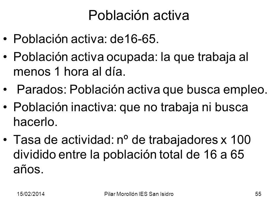 15/02/2014Pilar Morollón IES San Isidro55 Población activa Población activa: de16-65. Población activa ocupada: la que trabaja al menos 1 hora al día.