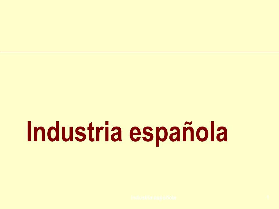 Industria española62 Si bien en 2008 la caída productiva quedó compensada por la positiva evolución de los precios, en 2009 ambos índices se han reducido (la producción en volumen cayó un 7,6%, y los precios un 1,8%) propiciando un descenso de la facturación del 9,3%.