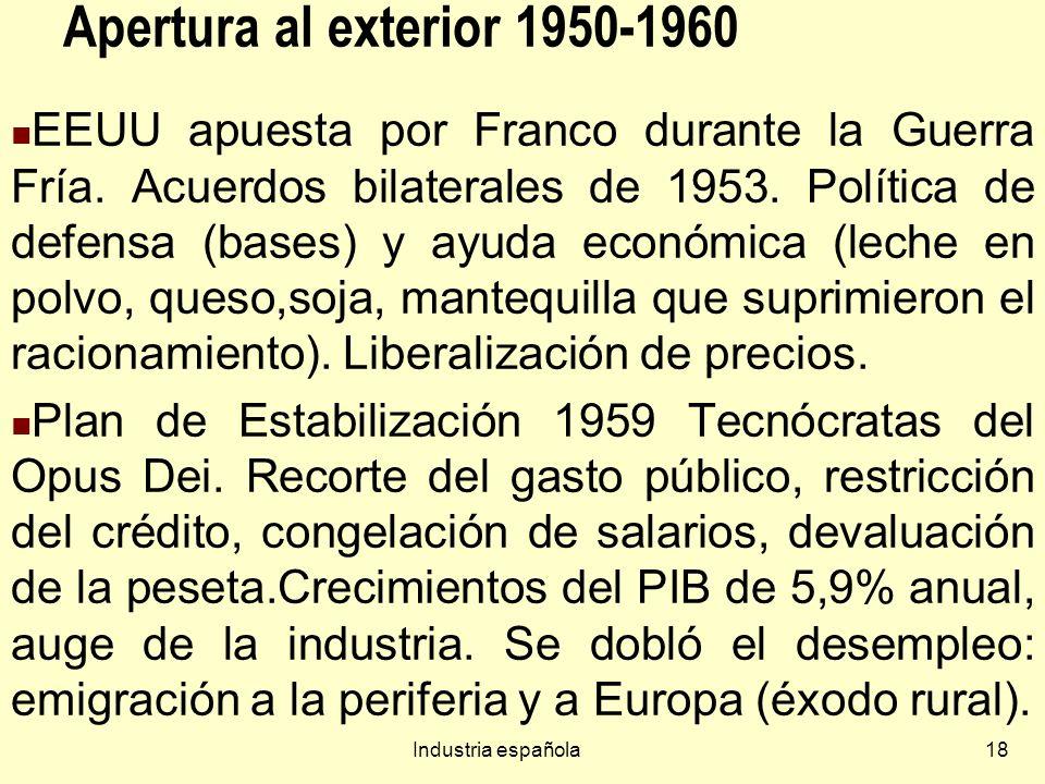 Industria española18 Apertura al exterior 1950-1960 EEUU apuesta por Franco durante la Guerra Fría.