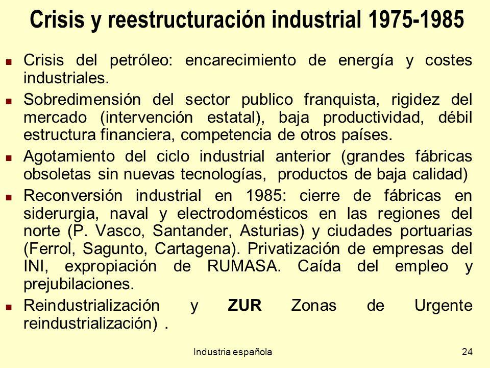 Industria española24 Crisis y reestructuración industrial 1975-1985 Crisis del petróleo: encarecimiento de energía y costes industriales.