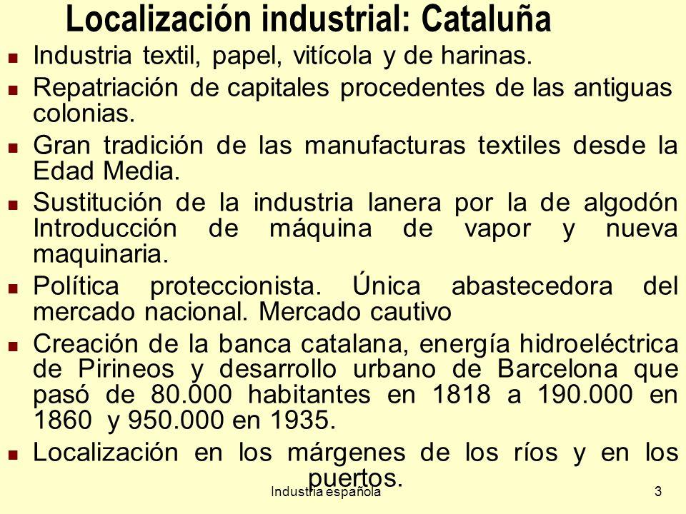 Industria española64 Industria agroalimentaria, bebidas, tabaco Próximas a los lugares de producción de alimentos y de consumo (periferia de las ciudades).