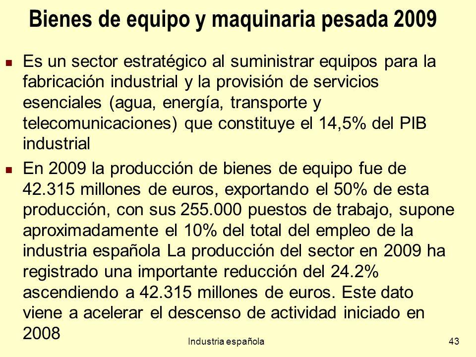 Industria española43 Bienes de equipo y maquinaria pesada 2009 Es un sector estratégico al suministrar equipos para la fabricación industrial y la provisión de servicios esenciales (agua, energía, transporte y telecomunicaciones) que constituye el 14,5% del PIB industrial En 2009 la producción de bienes de equipo fue de 42.315 millones de euros, exportando el 50% de esta producción, con sus 255.000 puestos de trabajo, supone aproximadamente el 10% del total del empleo de la industria española La producción del sector en 2009 ha registrado una importante reducción del 24.2% ascendiendo a 42.315 millones de euros.