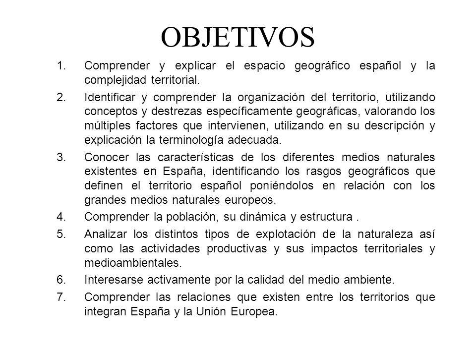 OBJETIVOS 1.Comprender y explicar el espacio geográfico español y la complejidad territorial.