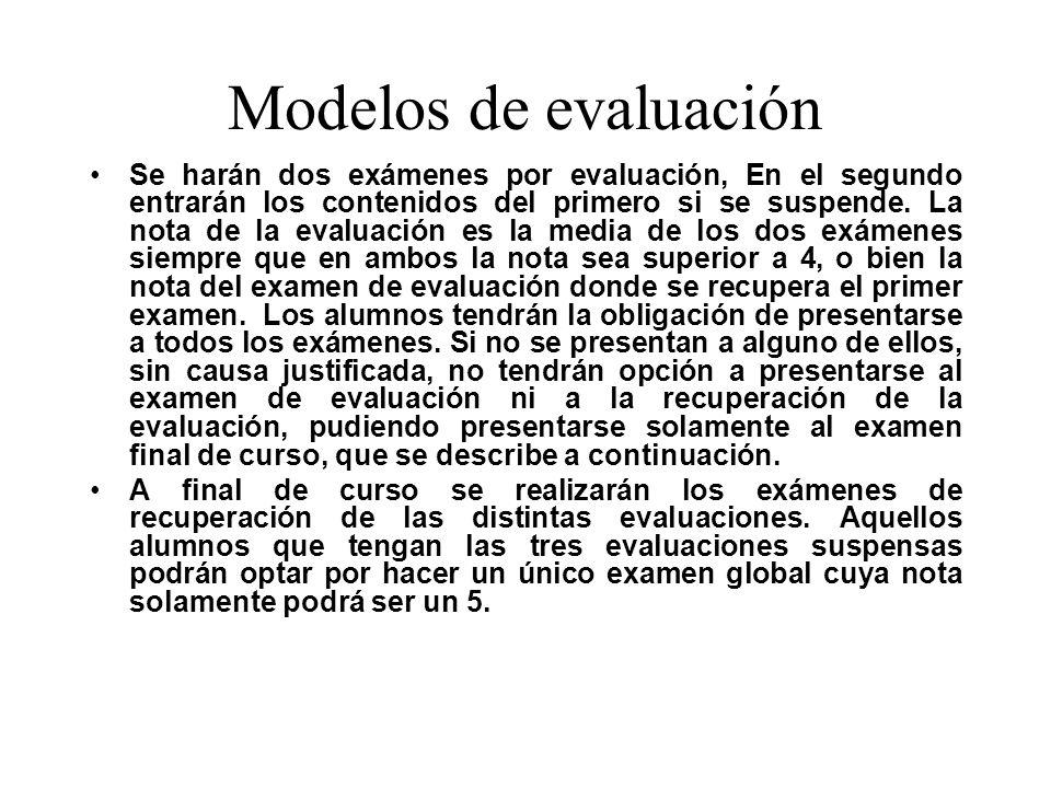 Modelos de evaluación Se harán dos exámenes por evaluación, En el segundo entrarán los contenidos del primero si se suspende.
