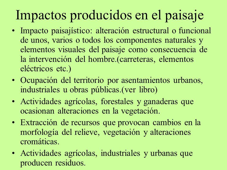 Impactos producidos en el paisaje Impacto paisajístico: alteración estructural o funcional de unos, varios o todos los componentes naturales y element