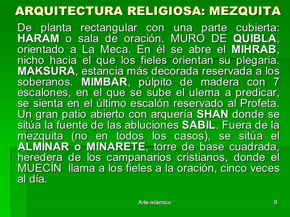 Arte islámico9 ARQUITECTURA RELIGIOSA: MEZQUITA De planta rectangular con una parte cubierta: HARAM o sala de oración. MURO DE QUIBLA, orientado a La