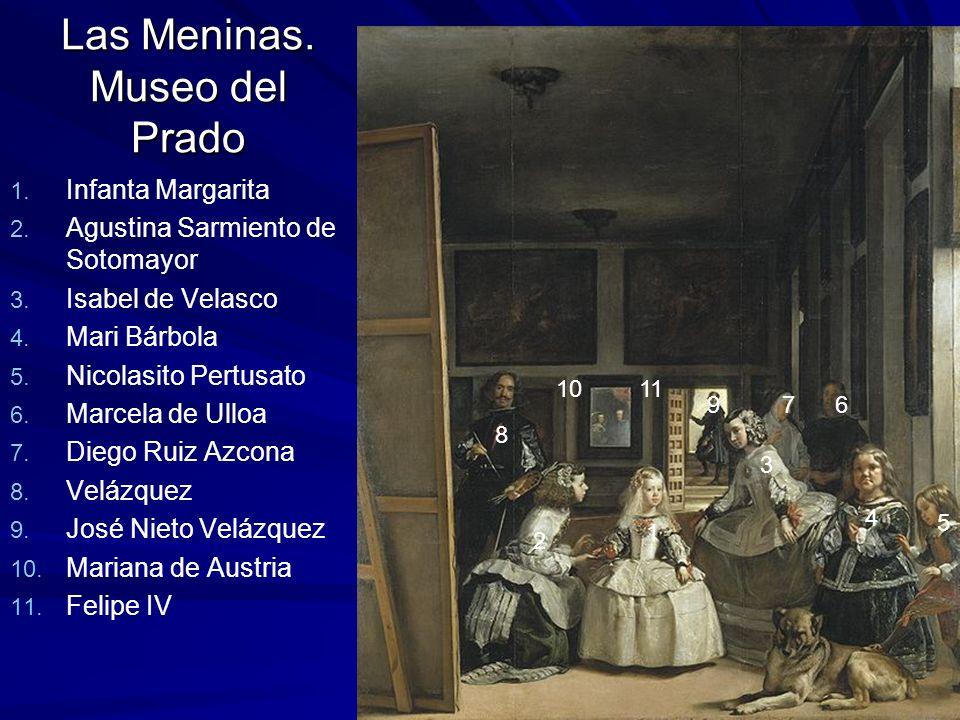 Pintura barroca 139 Las Meninas. Museo del Prado 1. 1. Infanta Margarita 2. 2. Agustina Sarmiento de Sotomayor 3. 3. Isabel de Velasco 4. 4. Mari Bárb