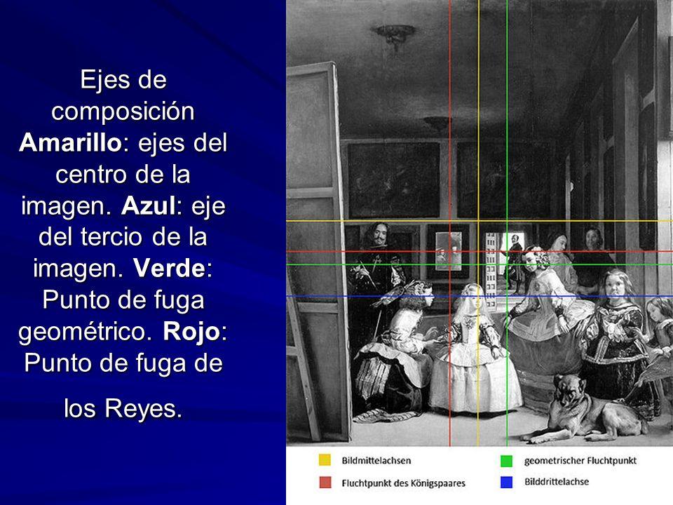 Pintura barroca 140 Ejes de composición Amarillo: ejes del centro de la imagen. Azul: eje del tercio de la imagen. Verde: Punto de fuga geométrico. Ro
