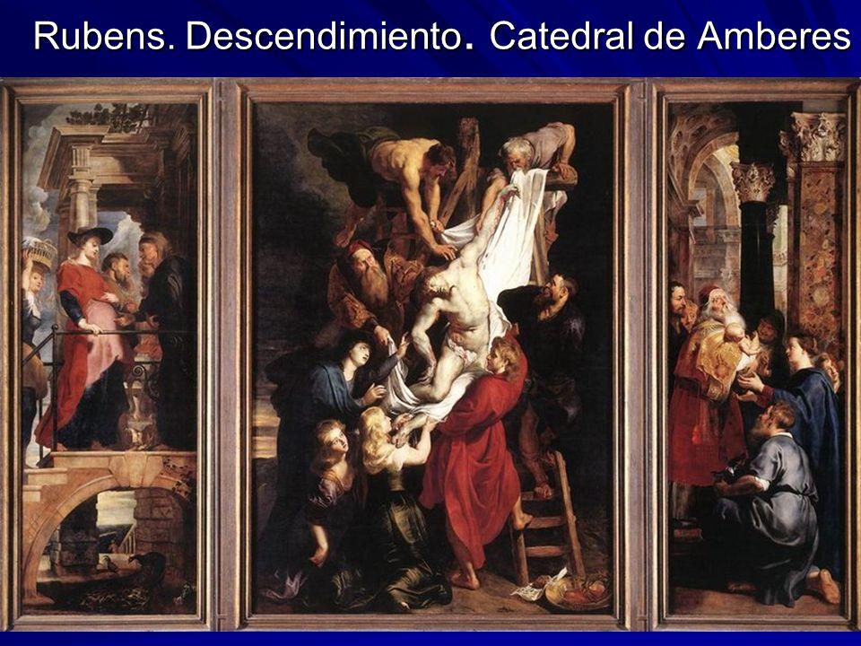 Pintura barroca 23 Rubens. Descendimiento. Catedral de Amberes