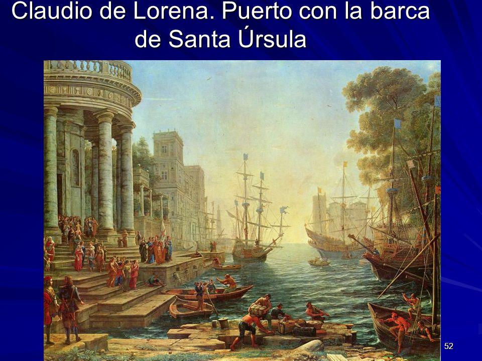 Pintura barroca 52 Claudio de Lorena. Puerto con la barca de Santa Úrsula