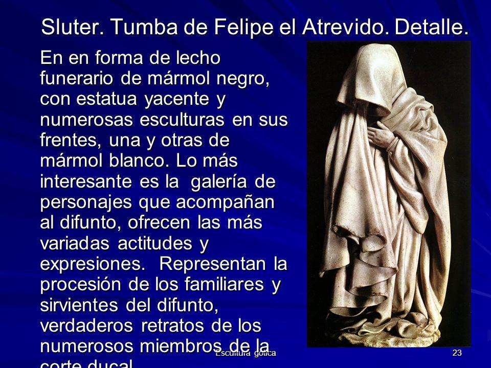 Escultura gótica 23 Sluter. Tumba de Felipe el Atrevido. Detalle. En en forma de lecho funerario de mármol negro, con estatua yacente y numerosas escu