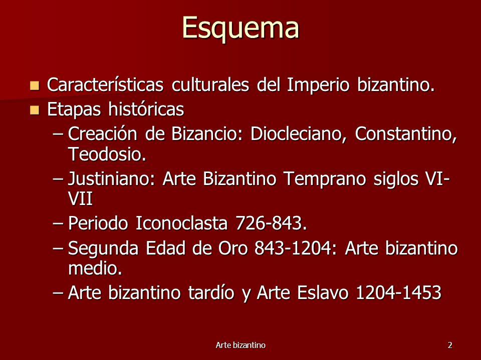 Arte bizantino2 Esquema Características culturales del Imperio bizantino. Características culturales del Imperio bizantino. Etapas históricas Etapas h
