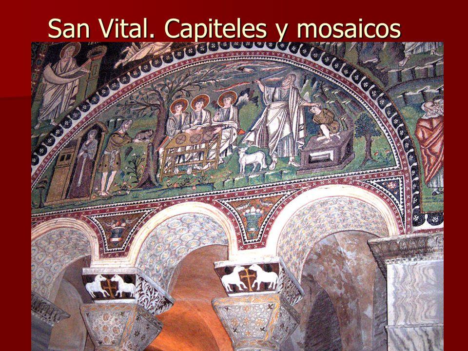 Arte bizantino30 San Vital. Capiteles y mosaicos