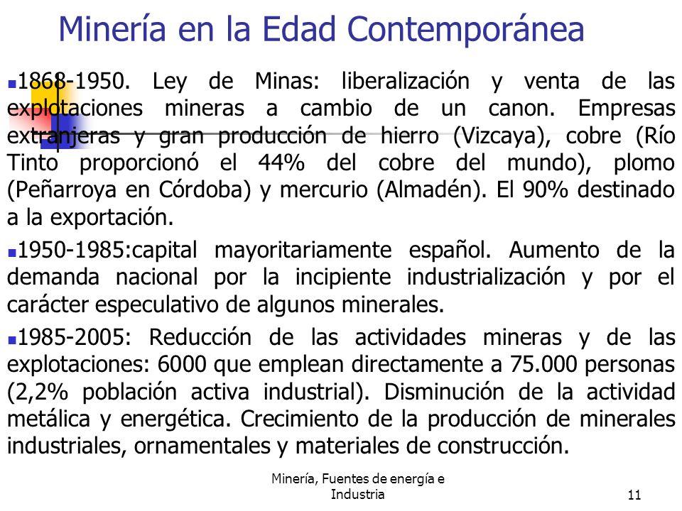Minería, Fuentes de energía e Industria11 Minería en la Edad Contemporánea 1868-1950. Ley de Minas: liberalización y venta de las explotaciones minera