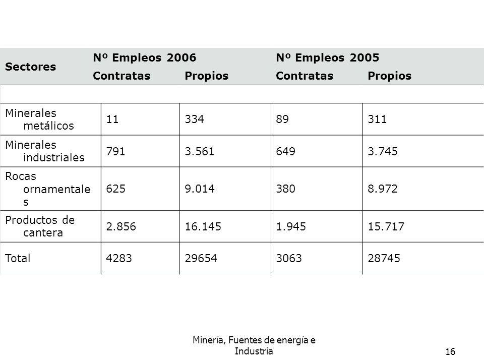 Minería, Fuentes de energía e Industria16 Sectores Nº Empleos 2006Nº Empleos 2005 ContratasPropiosContratasPropios Minerales metálicos 1133489311 Mine