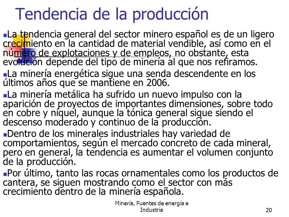 Minería, Fuentes de energía e Industria20 Tendencia de la producción La tendencia general del sector minero español es de un ligero crecimiento en la