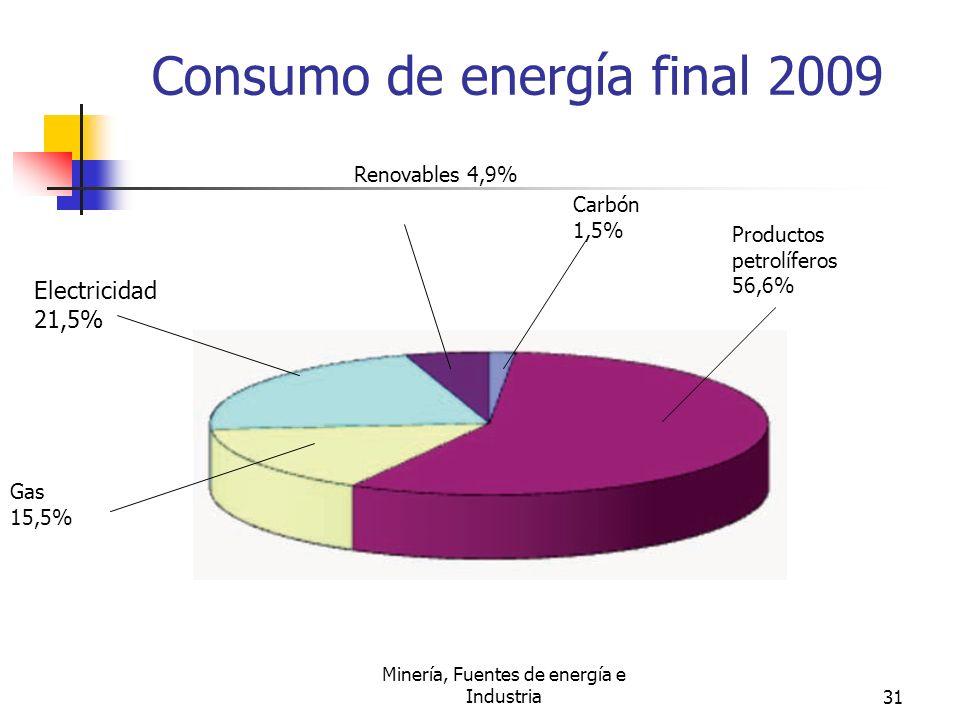 Minería, Fuentes de energía e Industria31 Consumo de energía final 2009 Electricidad 21,5% Gas 15,5% Renovables 4,9% Carbón 1,5% Productos petrolífero