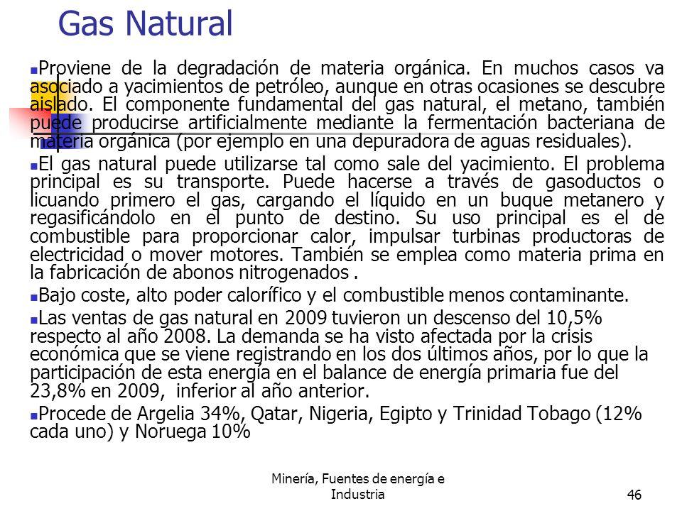 Minería, Fuentes de energía e Industria46 Gas Natural Proviene de la degradación de materia orgánica. En muchos casos va asociado a yacimientos de pet