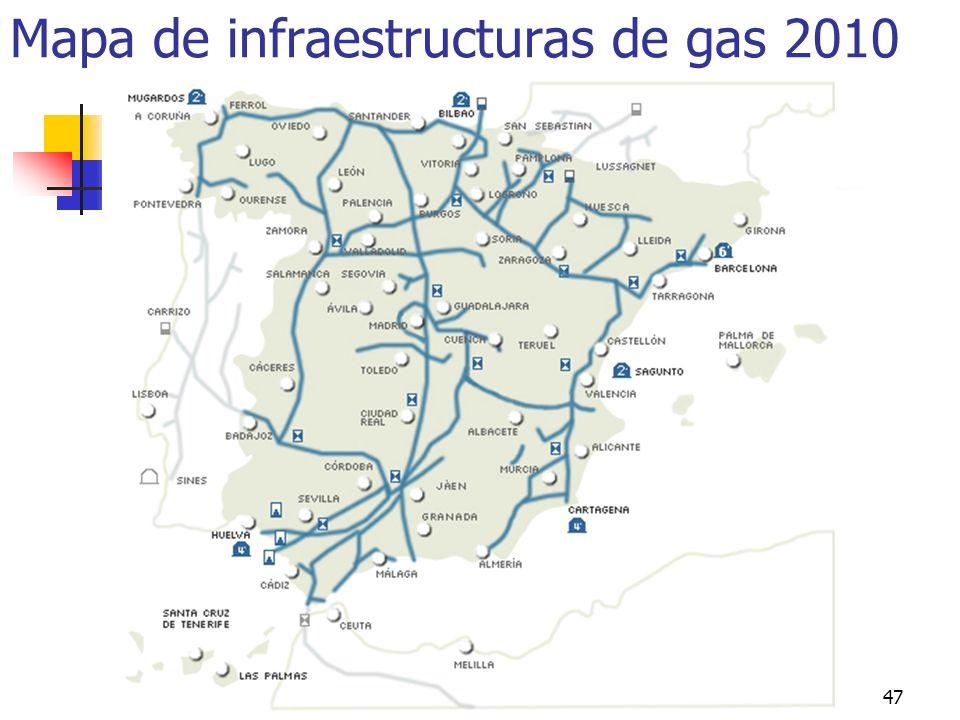 Minería, Fuentes de energía e Industria47 Mapa de infraestructuras de gas 2010