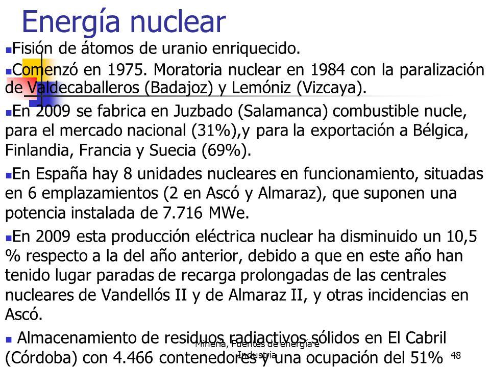 Minería, Fuentes de energía e Industria48 Energía nuclear Fisión de átomos de uranio enriquecido. Comenzó en 1975. Moratoria nuclear en 1984 con la pa