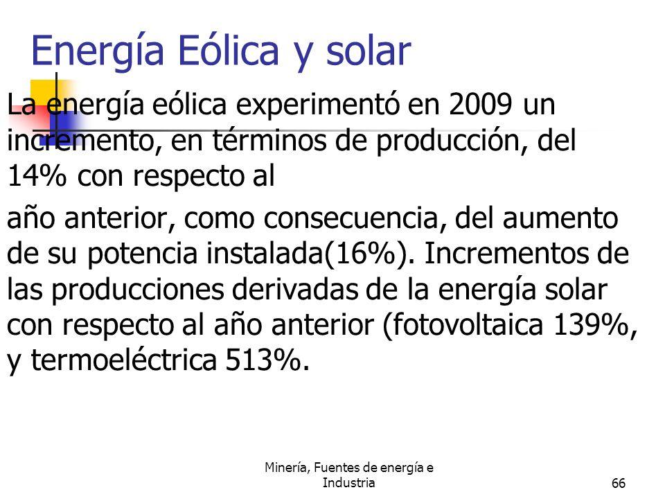 Minería, Fuentes de energía e Industria66 Energía Eólica y solar La energía eólica experimentó en 2009 un incremento, en términos de producción, del 1
